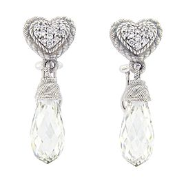 Judith Ripka 925 Sterling Silver Crystal & Cubic Zirconia Earrings