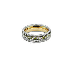 Wellendorff 18K Yellow and White and Enamel 0.55ct. Diamond Double Spinner Ring Size 9.5