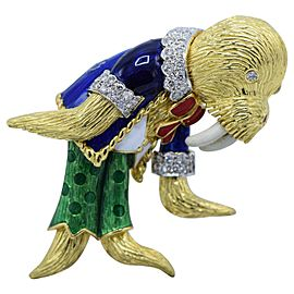 18 Karat Gold, Ruby, Enamel and Diamond Walrus Brooch