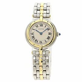 CARTIER Stainless Steel/18K Yellow Gold PANTHERE Round 1 ROW Watch TNN-2044
