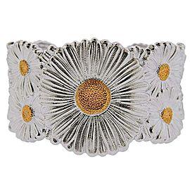 Buccellati Gold Silver Flower Blossom Cuff Bracelet