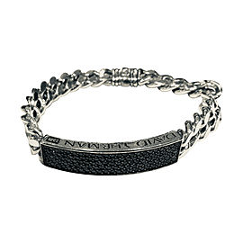 David Yurman Sterling silver Pave Curb Chain Black 3.66 Ctw Diamond Id Bracelet