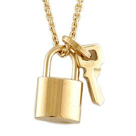 LOUIS VUITTON 18K yellow Gold Padlock Cadena key Pandantif Lockit Necklace CHAT-739