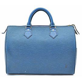 Louis Vuitton Epi Speedy 30 Hand Bag Blue