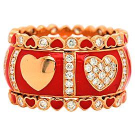 Diamond and Red Enamel Rose Gold Ring 18 Karat with 1.03 Carat in Diamonds