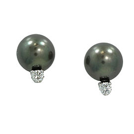 Mikimoto 18K White Gold with Tahitian Pearl and 0.20ct Diamond Earrings