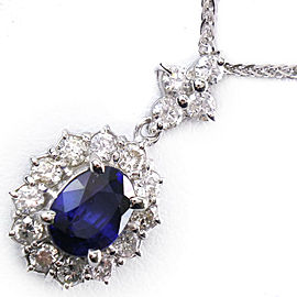 18K white gold/sapphire/diamond Necklace NST-1077