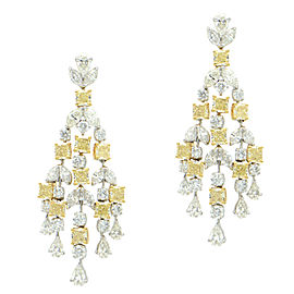 Platinum and 18k Yellow Gold 24.20CTW Diamond Chandelier Style Earrings
