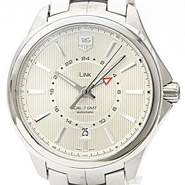 Polished TAG HEUER Link Calibre 7 GMT Steel Automatic Watch WAT201B