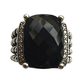 David Yurman Sterling Silver Black Onyx with 0.13ctw Diamonds Wheaton Ring Size 6.5