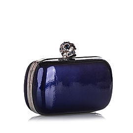 Skull Box Patent Leather Clutch Bag