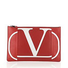 Valentino VLogo Zip Pouch Printed Leather