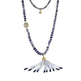 Buddha Mama 20K Yellow Gold Iolite & Blue Sapphires Tassel Drop Necklace