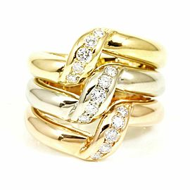 Cartier 18K Rose Gold/18KYellow Gold/18KGold White Gold, Diamonds Trinity Three Row Ring CHAT-211