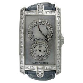 Harry Winston Avenue 331/UQWL 18K White Gold Baguette Diamonds & Leather 26mm Womens Watch