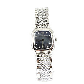 David Yurman Stainless Steel Sterling Silver 25mm Black Mother of Pearl Diamond Dial Thoroughbred Watch
