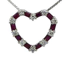 14K White Gold Diamond Ruby Pendant Necklace