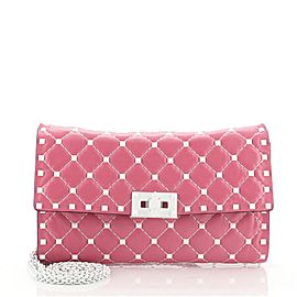 Valentino Free Rockstud Spike Wallet on Chain Quilted Leather Small