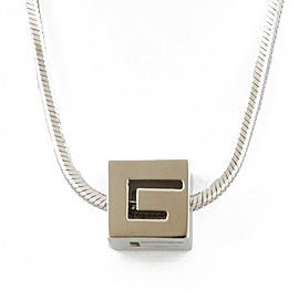GUCCI 18k Pink gold G logo cube Necklace