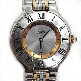 Cartier 21 Stainless Gold Plated Quartz Wrist Watch TBRK-350