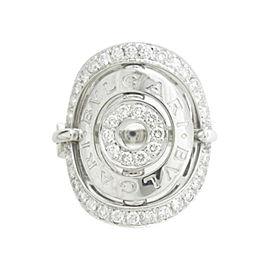 Bulgari 18K White Gold Diamond Asutorare Ring Size 6.25