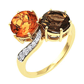 14K Yellow Gold 3 1/2ct Citrine & Smokey Quartz with Diamond Ring Size 7