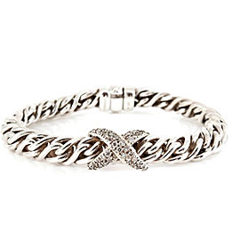 David Yurman Sterling Silver .80tcw Lyrica Pave Diamond X Wheat Chain Bracelet