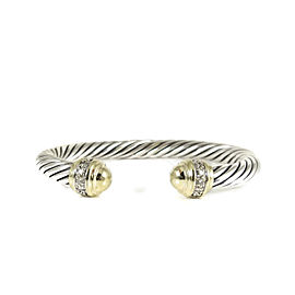 David Yurman Sterling Silver 18K Yellow Gold Cable Classic Diamond Bracelet