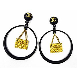 CHANEL Gold-tone Coco Mark Quilted Bag Hoop Earrings