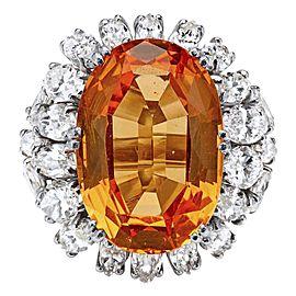 Topaz, Diamond and Platinum Ring
