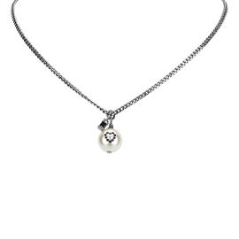 Chanel CC Silver-Tone Metal, Simulated Glass Pearl & Rhinestone Pendant Necklace