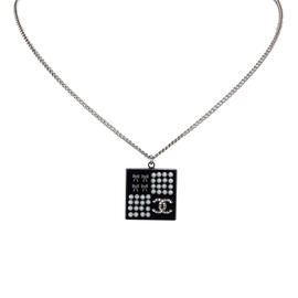 Chanel Silver-Tone Metal Simulated Glass Pearl CC Necklace