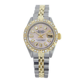 Rolex Datejust Pink MOP Diamond Pyramid Two Tone Watch