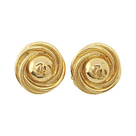 Chanel Gold Plated Metal Button Clip-On Earrings