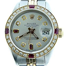 Ladies Rolex Two-Tone 14K/SS Datejust Silver Diamond & Ruby 6917