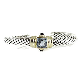 David Yurman Sterling Silver 14K Yellow Gold 7mm Blue Topaz Rhodolite Garnet Renaissance Bracelet