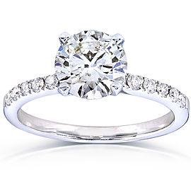 Round Diamond Engagement Ring 1 4/5 Carat (ctw) in 14k White Gold (Certified) - 9.5