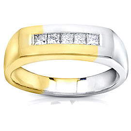 Men's Princess-cut Diamond Band 1/2 Carat (ctw) in 18k Two-tone Gold - 8.0
