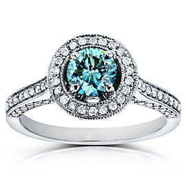 Vintage Fancy Blue Diamond Diamond Halo Engagement Ring 1 CTW in 14k White Gold - 4.0