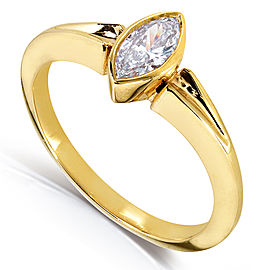 Marquise Diamond Solitaire Ring 3/4 Carat in 14k Yellow Gold