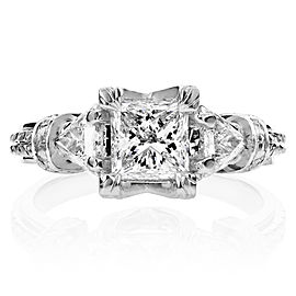 Certified Princess Cut 3-Stone Diamond Engagement Ring 1 3/4 CTW in 14k White Gold - 6.0