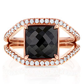 Princess Cut Black Diamond Ring 4 CTW in 14k Rose Gold