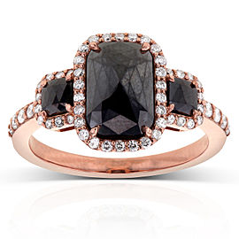 Cushion Cut 3 Stone Black Diamond Ring 3 1/2CTW in 14k Rose Gold