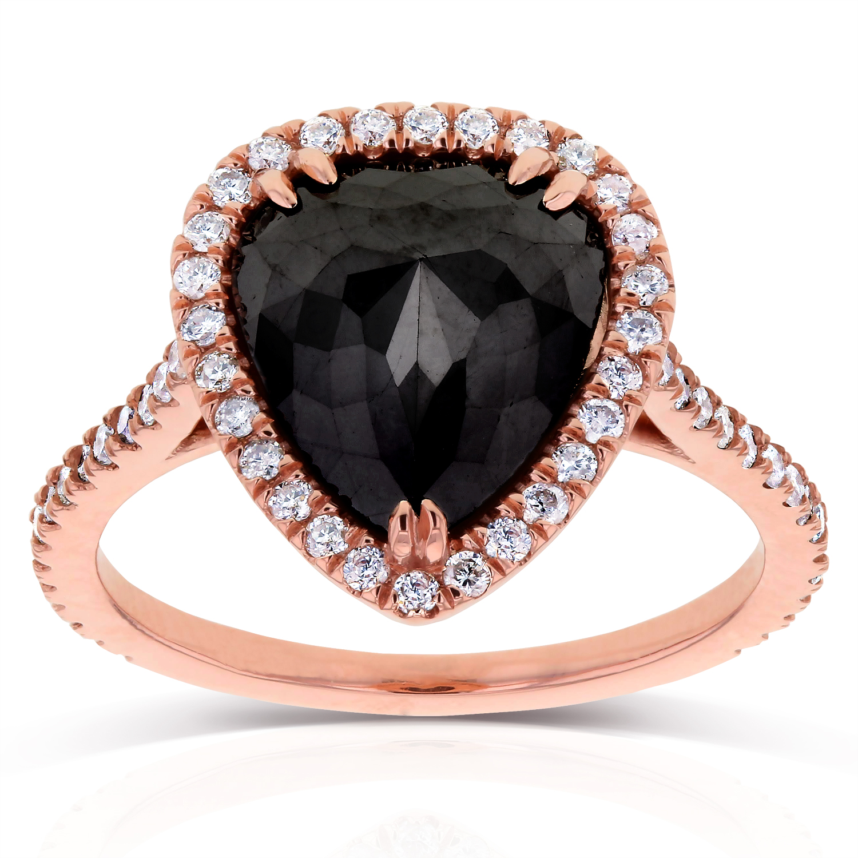 Rose Cut Black Diamond Pear Shaped Halo Ring 3 2 5 Ctw In 14k Rose Gold