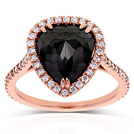 Rose-cut Black Diamond Pear Shaped Halo Ring 3 2/5 CTW in 14k Rose Gold