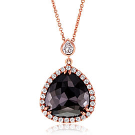 Pear Shaped Rose-cut Black & White Diamond Halo Style Pendant 5 CTW in 14k Rose Gold