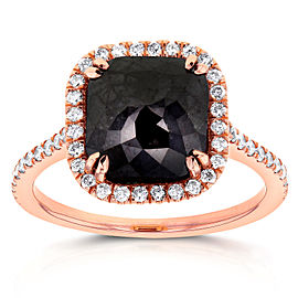 Cushion Cut Black Diamond Halo Ring 3 7/8 CTW in 14k Rose Gold