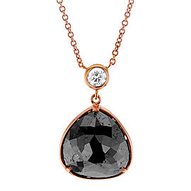 Pear Shaped Rose-cut Black & White Diamond Halo Style Pendant 4 1/2 CTW in 14k Rose Gold