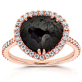 Rose-cut Black Diamond Halo Ring 3 3/8 CTW in 14k Rose Gold