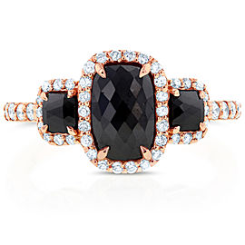 Cushion Cut 3 Stone Black Diamond Ring 2 CTW in 14k Rose Gold